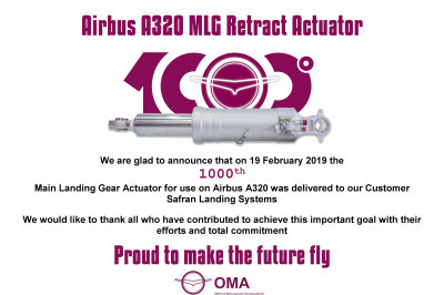 1000th Airbus A320 MLG Retract Actuator
